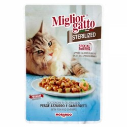 Miglior Gatto - Miglior Gatto Pouch Sterilised Balık ve Karides Kedi Yaş Maması 85 Gr