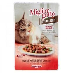 Miglior Gatto - Miglior Gatto Pouch Sterilised Biftek,Salam ve Sebzeli Kedi Yaş Maması 85 Gr