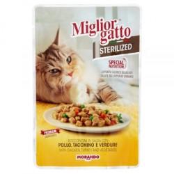 Miglior Gatto - Miglior Gatto Pouch Sterilised Tavuk,Hindi ve Sebzeli Kedi Yaş Maması 85 Gr