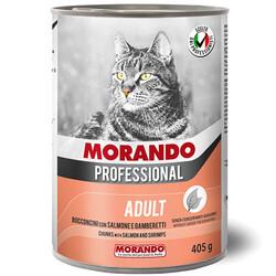 Morando - Morando Parça Etli Somon ve Karides Kedi Konservesi 405 Gr