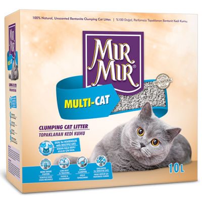 Mırmır Multi-Cat Birden Fazla Kedi İçin Topaklanan Kedi Kumu 10 Lt