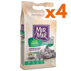 Mırmır - Mırmır Ultra Scented Marsilya Sabunlu Topaklanan Kedi Kumu 5 Lt x 4 Adet