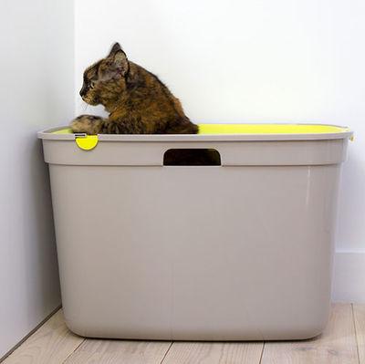 Moderna Top Cat Üstten Girişli Kapalı Kedi Tuvaleti 59 Cm ( Sarı )