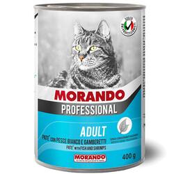 Morando - Morando Pate Beyaz Balıklı Karidesli Kedi Konservesi 400 Gr