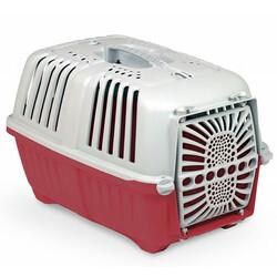 MPS - MPS Pratiko No: 1 Plastik Kapılı Kedi ve Küçük Irk Köpek Taşıma Çantası Kırmızı