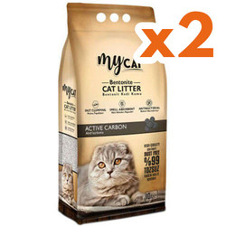 My Cat - Mycat İnce Taneli Aktif Karbon Topaklanan Doğal Kedi Kumu 10 Ltx2 Adet