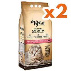 My Cat - Mycat Kalın Taneli Bebek Pudralı Topaklanan Doğal Kedi Kumu 10 Ltx2 Adet