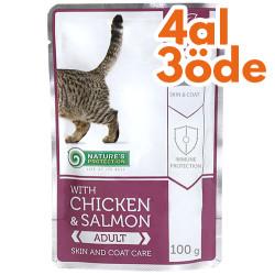 Natures Protection - Natures Protection Tüy Sağlığı Tavuk Somon Yaş Kedi Maması 100 Gr-4 Al 3 Öde