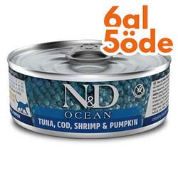 N&D (Naturel&Delicious) - ND 1997 Ocean Ton Balığı, Morina Balığı Karides ve Balkabaklı Kedi Konservesi 80 Gr - 6 Al 5 Öde