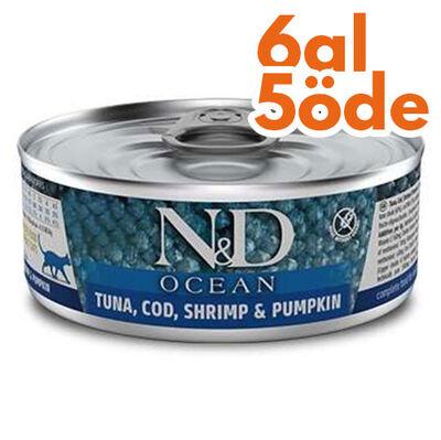ND 1997 Ocean Ton Balığı, Morina Balığı Karides ve Balkabaklı Kedi Konservesi 80 Gr - 6 Al 5 Öde