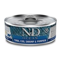 N&D (Naturel&Delicious) - ND 1997 Ocean Ton balığı, Morina Balığı Karides ve Balkabaklı Kedi Konservesi 80 Gr