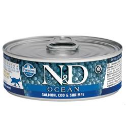 N&D (Naturel&Delicious) - ND 2000 Ocean Somon Morina Balıklı ve Karides Kedi Konservesi 80 Gr