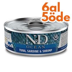 N&D (Naturel&Delicious) - ND 2017 Ocean Ton Balığı, Sardalya ve Karidesli Kedi Konservesi 80 Gr - 6 Al 5 Öde