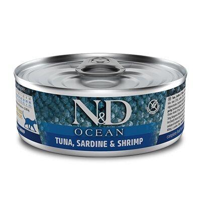 ND 2017 Ocean Ton Balığı, Sardalya ve Karides Kedi Konservesi 80 Gr