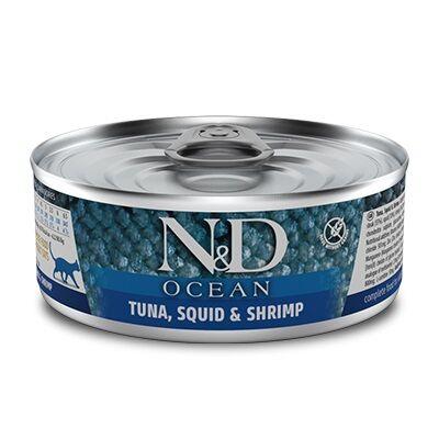 ND 2024 Ocean Ton Balığı, Mürekkep Balığı ve Karides Kedi Konservesi 80 Gr - 6 Al 5 Öde