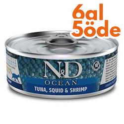 N&D (Naturel&Delicious) - ND 2024 Ocean Ton Balığı, Mürekkep Balığı ve Karides Kedi Konservesi 80 Gr - 6 Al 5 Öde