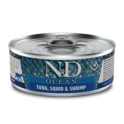 N&D (Naturel&Delicious) - ND 2024 Ocean Ton Balığı, Mürekkep Balığı ve Karides Kedi Konservesi 80 Gr