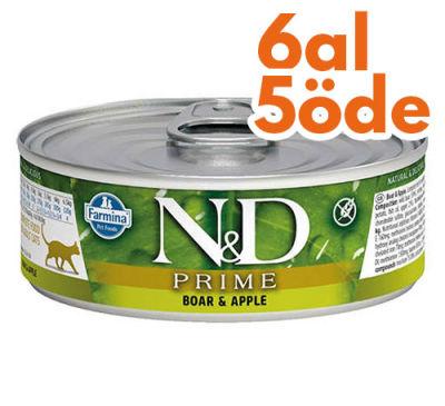 ND 2048 Prime Yaban Domuzu ve Elmalı Kedi Konservesi 80 Gr - 6 Al 5 Öde