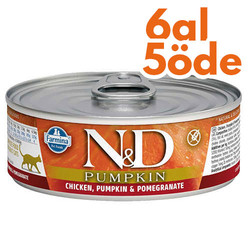 N&D (Naturel&Delicious) - ND 2086 Pumpkin Balkabaklı Tavuk Etli ve Narlı Kedi Konservesi 80 Gr - 6 Al 5 Öde