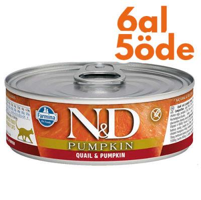 ND 2116 Pumpkin Balkabaklı ve Bıldırcın Etli Kedi Konservesi 80 Gr - 6 Al 5 Öde