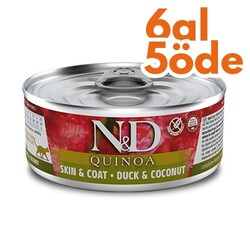 N&D (Naturel&Delicious) - ND 2147 Quinoa Skin&Coat Deri Tüy Sağlığı için Kinoa, Ördek ve H. Cevizli Kedi Konservesi 80 Gr - 6 Al 5 Öde