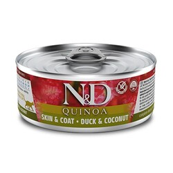 N&D (Naturel&Delicious) - ND 2147 Quinoa Skin&Coat Deri Tüy Sağlığı için Kinoa, Ördek ve H. Cevizli Kedi Konservesi 80 Gr