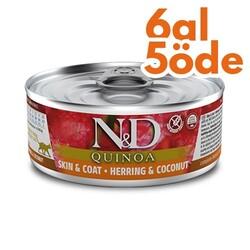 N&D (Naturel&Delicious) - ND 2154 Quinoa Skin&Coat Deri Tüy Sağlığı için Kinoa, R.Balığı ve H. Cevizli Kedi Konservesi 80 Gr - 6 Al 5 Öde