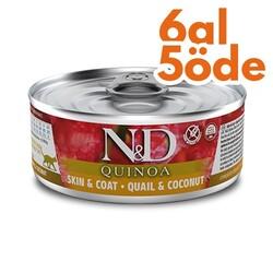 N&D (Naturel&Delicious) - ND 2161 Quinoa Skin&Coat Deri Tüy Sağlığı için Kinoa, Bıldırcın, H. Cevizli Kedi Konservesi 80 Gr - 6 Al 5 Öde