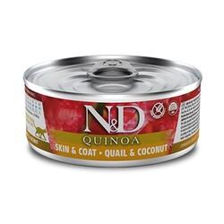 N&D (Naturel&Delicious) - ND 2161 Quinoa Skin&Coat Deri Tüy Sağlığı için Kinoa, Bıldırcın, H. Cevizli Kedi Konservesi 80 Gr