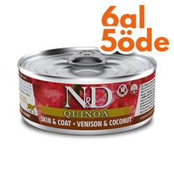 N&D (Naturel&Delicious) - ND 2185 Quinoa Skin&Coat Deri Tüy Sağlığı için Kinoa, Geyik ve H. Cevizli Kedi Konservesi 80 Gr - 6 Al 5 Öde