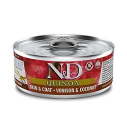 N&D (Naturel&Delicious) - ND 2185 Quinoa Skin&Coat Deri Tüy Sağlığı için Kinoa, Geyik ve H. Cevizli Kedi Konservesi 80 Gr