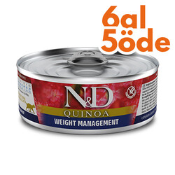 N&D (Naturel&Delicious) - ND 2192 Quinoa Weight Management Kilo Kontrolü için Kinoa ve Kuzulu Kedi Konservesi 80 Gr - 6 Al 5 Öde