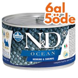 N&D (Naturel&Delicious) - ND 2215 Mini Ocean Ringa Balıklı ve Karidesli Köpek Konservesi 140 Gr - 6 Al 5 Öde