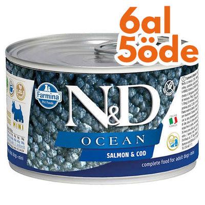 ND 2222 Mini Ocean Somon ve Morina Balıklı Köpek Konservesi 140 Gr - 6 Al 5 Öde