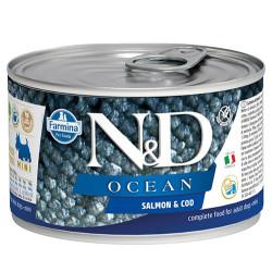 N&D (Naturel&Delicious) - ND 2222 Mini Ocean Somon ve Morina Balıklı Köpek Konservesi 140 Gr
