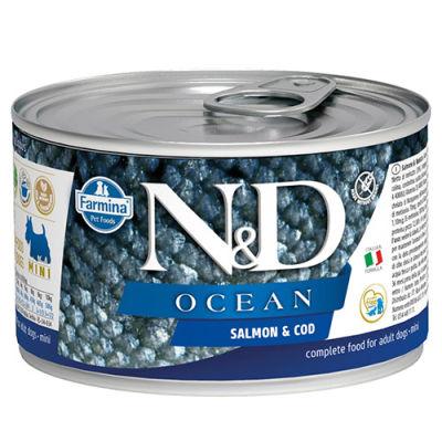 ND 2222 Mini Ocean Somon ve Morina Balıklı Köpek Konservesi 140 Gr