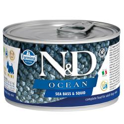 N&D (Naturel&Delicious) - ND 2239 Mini Ocean Levrek ve Mürekkep Balığı Köpek Konservesi 140 Gr