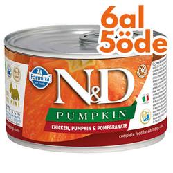 N&D (Naturel&Delicious) - ND 2314 Pumpkin Balkabaklı Tavuk Etli ve Nar Köpek Konservesi 140 Gr - 6 Al 5 Öde