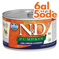 N&D (Naturel&Delicious) - ND 2338 Mini Pumpkin Balkabaklı Kuzu Etli ve Yaban Mersini Köpek Konservesi 140 Gr - 6 Al 5 Öde
