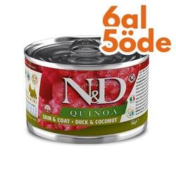 N&D (Naturel&Delicious) - ND 2376 Quinoa Mini Skin&Coat Deri Tüy Sağlığı Kinoa, Ördek, H. Cevizli Köpek Konservesi 140 Gr - 6 Al 5 Öde