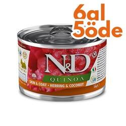 N&D (Naturel&Delicious) - ND 2383 Quinoa Mini Skin&Coat Deri Tüy Sağlığı Kinoa, R.Balığı, H. Cevizli Köpek Konservesi 140 Gr - 6 Al 5 Öde