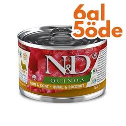 N&D (Naturel&Delicious) - ND 2390 Quinoa Mini Skin&Coat Deri Tüy Sağlığı Kinoa, Bıldırcın, H. Cevizli Köpek Konservesi 140 Gr - 6 Al 5 Öde