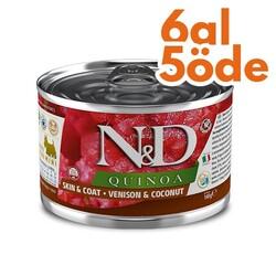 N&D (Naturel&Delicious) - ND 2406 Quinoa Mini Skin&Coat Deri Tüy Sağlığı Kinoa ve Geyikli Köpek Konservesi 140 Gr - 6 Al 5 Öde