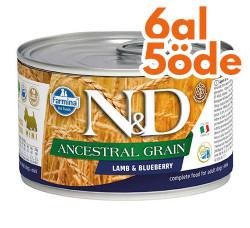 N&D (Naturel&Delicious) - ND 2444 Düşük Tahıl Kuzu Etli ve Yaban Mersinli Köpek Konservesi 140 Gr - 6 Al 5 Öde