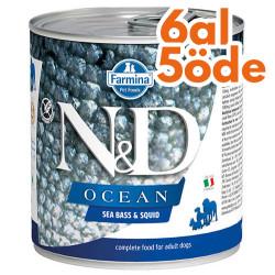N&D (Naturel&Delicious) - ND 2482 Ocean Levrek ve Mürekkep Balıklı Köpek Konservesi 285 Gr - 6 Al 5 Öde