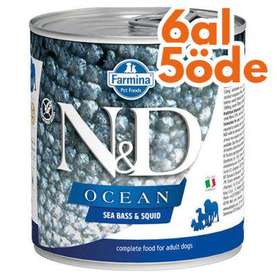 ND 2482 Ocean Levrek ve Mürekkep Balıklı Köpek Konservesi 285 Gr - 6 Al 5 Öde