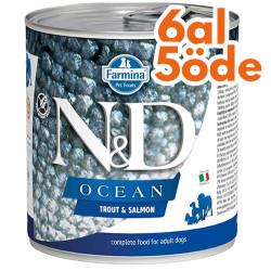 N&D (Naturel&Delicious) - ND 2499 Ocean Somon ve Alabalıklı Köpek Konservesi 285 Gr - 6 Al 5 Öde