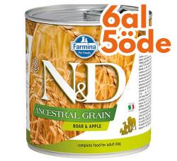 N&D (Naturel&Delicious) - ND 2673 Düşük Tahıl Yaban Domuzu ve Elmalı Köpek Konservesi 285 Gr - 6 Al 5 Öde