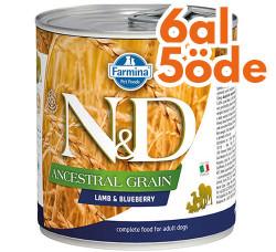 N&D (Naturel&Delicious) - ND 2697 Düşük Tahıl Kuzu Etli ve Yaban Mersinli Köpek Konservesi 285 Gr - 6 Al 5 Öde