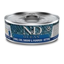 N&D (Naturel&Delicious) - ND 2918 Ocean Kitten Ton Balığı, Morina Balığı Karides ve Balkabaklı Yavru Kedi Konservesi 80 Gr
